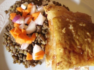 Roast pork and lentils