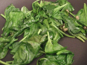 Wilting the spinach