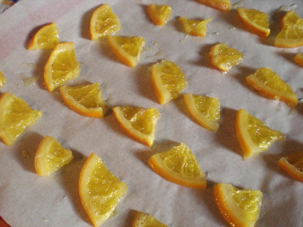 Candied orange ready to dry