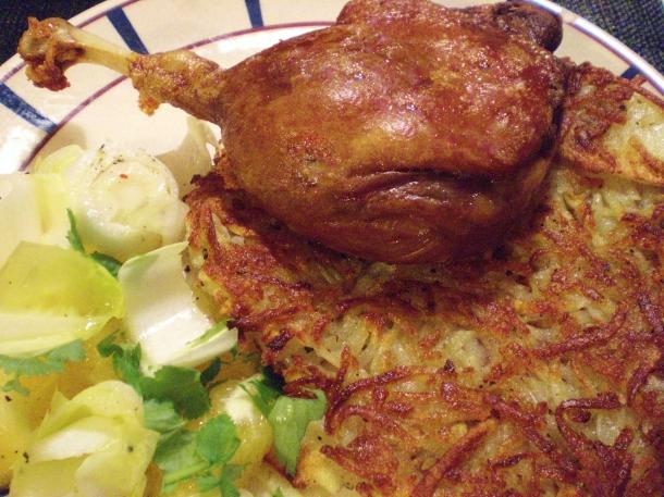 Confit de canard, pommes paillasson